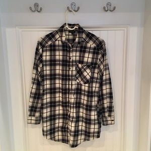 Topshop black and white plaid button down shirt 2